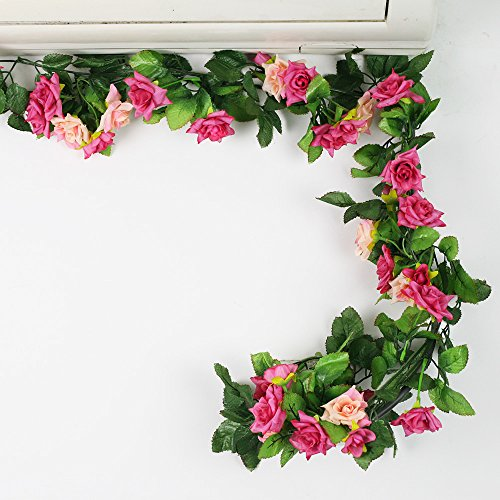 8ft Rose Pack of 5 Artificial Rose Silk Flower Green Leaf Vine Garland Home Wall Party Decor Wedding Decoration (Rose Red)