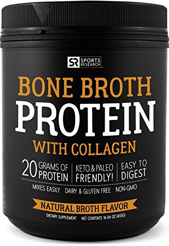 Bone Broth with Collagen (Natural Chicken Broth Flavor) ~ Paleo & Keto Diet Approved ~ for Healthy Skin, Joints & Muscles ~ Gluten, GMO & Dairy Free