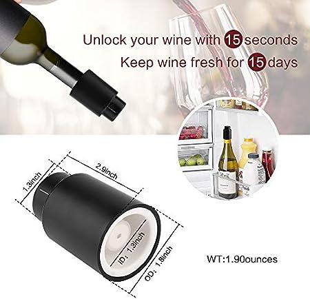 WERPOWER Tapones de Botella para Vino Champán, Tapón de Vine Vacío para Colección Reutilizables Bomba de Vacío de Corcho Amantes del Vino.