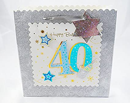 Happy 40th Bolsa de regalo grande azul marino Plata Bolsa de ...