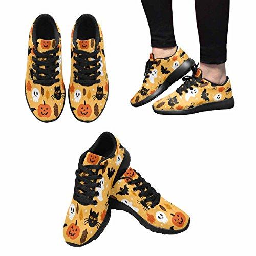 Interestprint Femmes Jogging Running Sneaker Léger Aller Facile Confort De Marche Sport Chaussures De Course Modèle Dhalloween Avec Fantôme, Crâne, Citrouille Et Chat Noir Multi 1