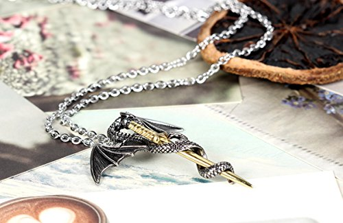 Flongo Silver Flying Dragon Gold Sword Stainless Steel Pendant Necklace Mens Biker Tribal, 22 inch Chain