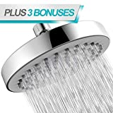 Rain Shower Head – 6 inch Round High Pressure – Even With Low Water Pressure – Removable Restrictor – Tool Free Installation (Chrome & Black Matte)