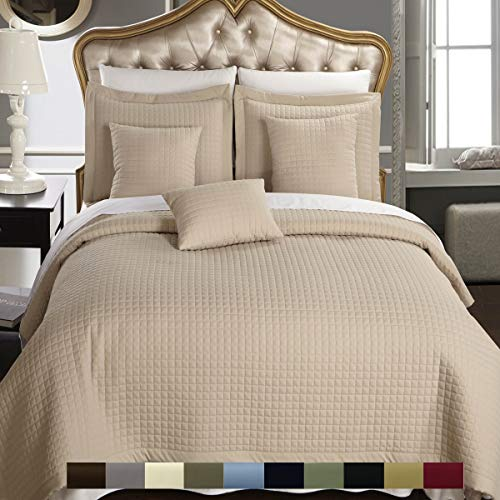 Checkered Style Soft and Plush Coverlet, 3PC Set Stitched filled Bedspread, Extra Soft Bed Cover, Checkered Pattern Quilted Bed Quilt, Linen Beige, Queen