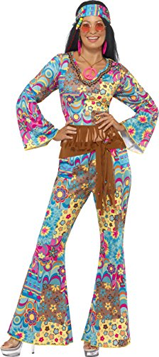 Smiffy's Women's Hippie Flower Power Costume, Top, pants, Headband and Belt, 60's Groovy Baby, Serious Fun, Size 10-12, (60's Flower Power Costume)