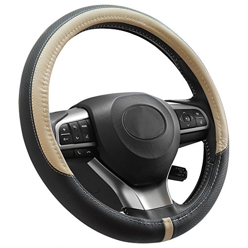 COFIT Breathable and Non Slip Microfiber Leather Steering Wheel Cover Universal 15 Inch - Beige and Black