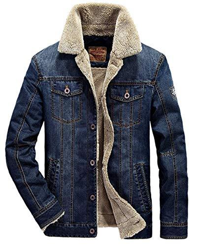 Vcansion Men's Casual Sherpa Fleece Lined Jacket Winter Denim Coat Plus Size Outerwear Dark Blue US S/Asian XL