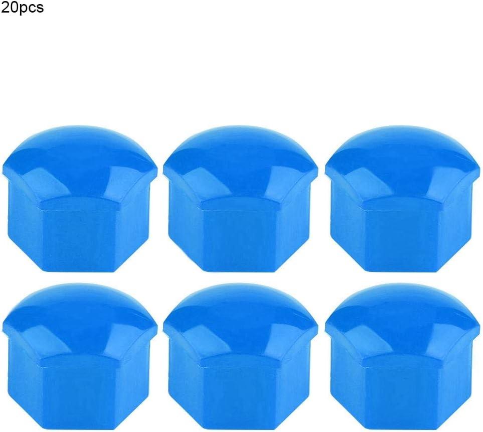Bleu /Écrou de roue de voiture Capuchon de roue de voiture Pneu de pneu de pneu /Écrou de cache-vis Cache-vis 20pcs 19mm Cache-/écrou de roue de