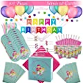 Premium Magical Unicorn Mermaid Birthday Party Supplies Party Decorations Party Favors Set Disposable Tableware Set Plates Cups Napkins Cutlery Table Cover Girls Birthday Decorations Colored Happy Birthday Banner 12 Colored Balloons Colored Star Shaped Wall Decoration Party Favor Bags Unicorn Bracelets Serves 10 115 Pieces By Myrina