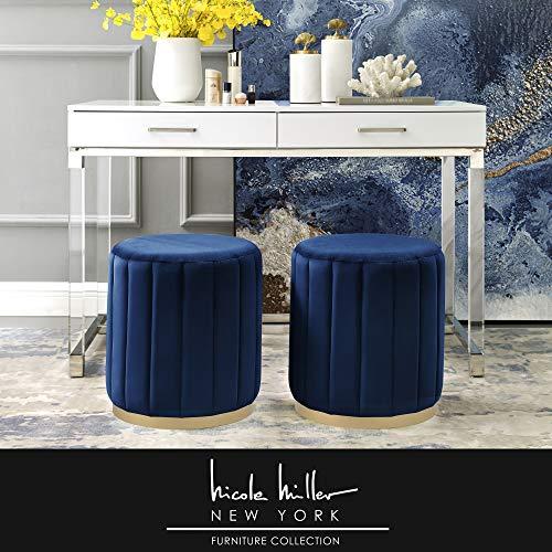 Nicole Miller Velvet Ottoman - Navy/Gold   Design: Flavia   Upholstered   Channel Tufted (Set Dining Nicole)