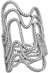 Sterling Silver Cubic Zirconia Long Waves Ring Micro Pave 1 3/4 inch Long, sizes 6 - 9