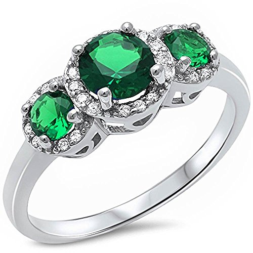 (Oxford Diamond Co Halo 3 Simulated Green Emerald Stone & Cubic Zirconia .925 Sterling Silver Ring Sizes 10)