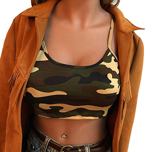 Sunhusing Women Camouflage Printing Sleeveless Tank Top Bustier Bra Vest Camisole Crop Blouse T-Shirt