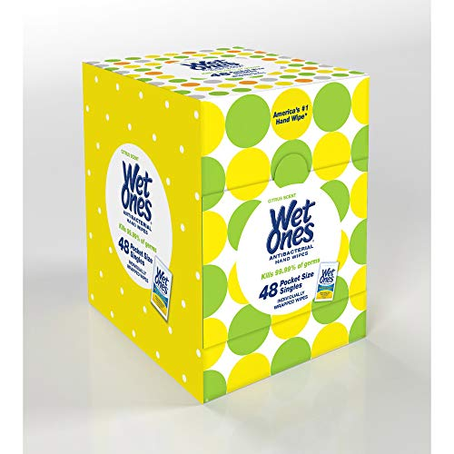 Wet Ones Antibacterial Hand Wipes Singles, Citrus Scent, 48 Count ()