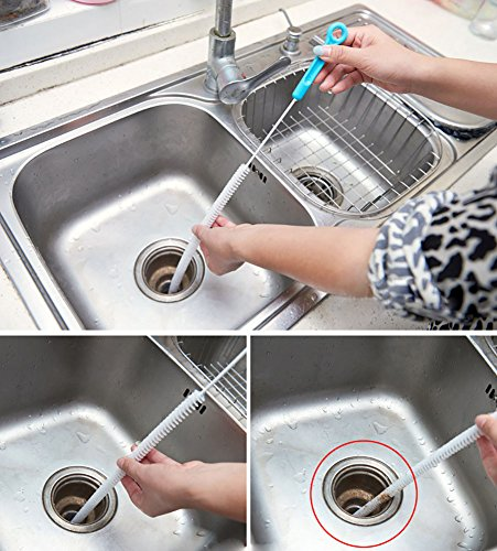 2Pcs Sewer Cleaning Brush, Household Bendable Sink Drain Clog Removal Tool, Tub/Toilet/Dredge/Pipe Snake Hair Catcher Brush