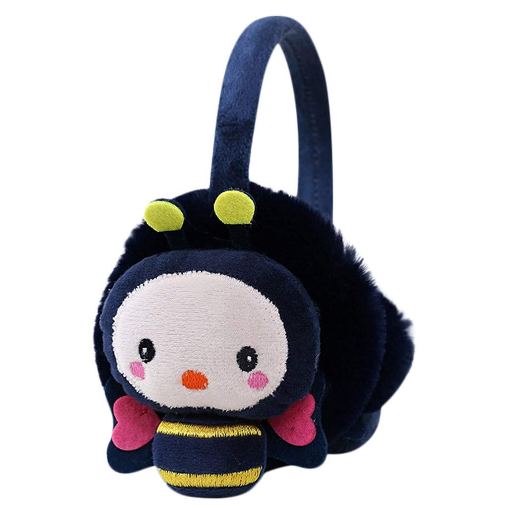 Lightning Deals Earmuffs, ZYooh Young Girls Kids Cartoon Bee Ears Design Windproof Warm Adjustable Ear Warmers (Navy)