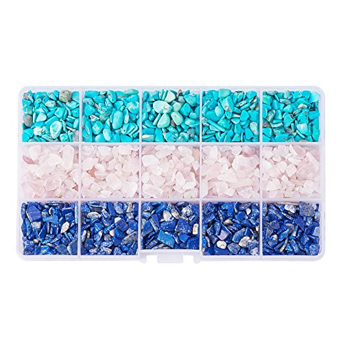 PandaHall Elite 1 Box Tumbled Chip Gemstone Beads Crushed Pieces Undrilled Stone for Jewelry Making Natural Amethyst, Natural Lapis Lazuli and Natural Turquoise