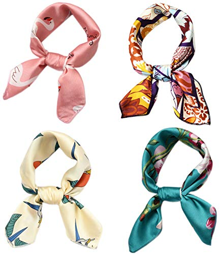 Hixixi 4 PCS 50s Satin Neck Scarf Dots Floral Striped Small Square Neckerchief Headbands Head Scarf for Women Girl (Multicolor B#)