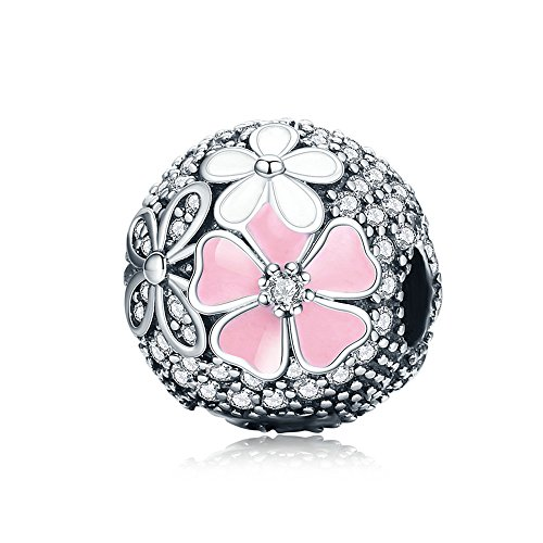 The Kiss Poetic Blooms Flower With Enamel And Clear CZ 925 Sterling Silver Bead Fits European Charm Bracelet (Poetic Flower CZ Clip)