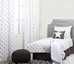 Bacati Stars Muslin 4 Piece Toddler Bedding Set, Grey
