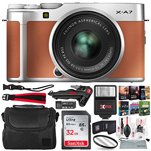 FUJIFILM X-A7 Mirrorless Digital Camera with 15-45mm Lens (Camel) + Xpix Flash, 32GB Memory Card, Case, Strap, Card Reader, Tripod, UV Filter, Photo Editing Software & Xpix Cleaning Accessories