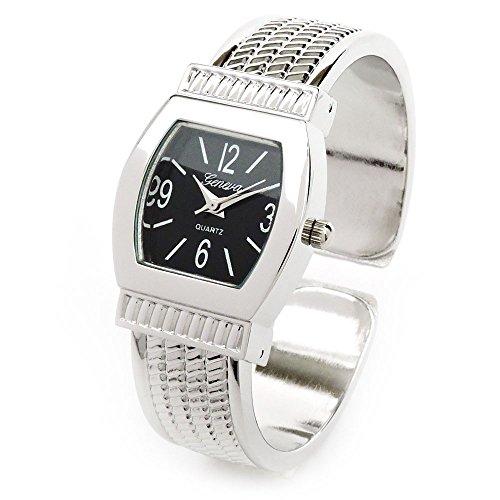 Silver Black Metal Western Style Small Size Women's Bangle Cuff Watch (Silver (Ladies Silver Western Style Watch)