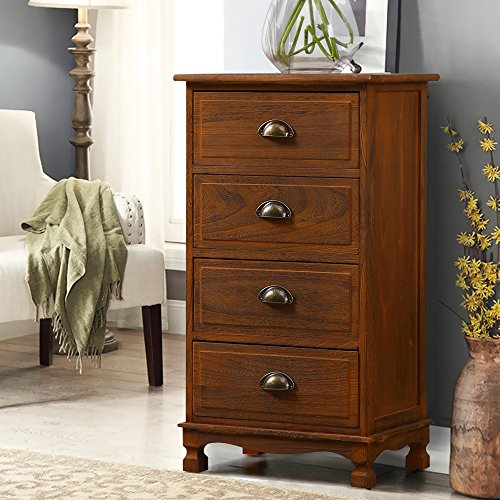 Mediterranean Vintage Nightstand Bedside Table with 4 Drawers Cabinet Coffee (Drawer Telephone With Table Tall)