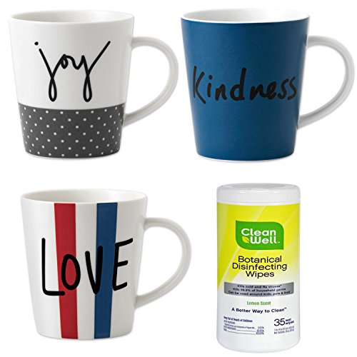 Ellen DeGeneres 16.5 oz Joy Love and Kindness Coffee Mug, 3-Piece Set Crafted by Royal Doulton with Antibacterial Wipes