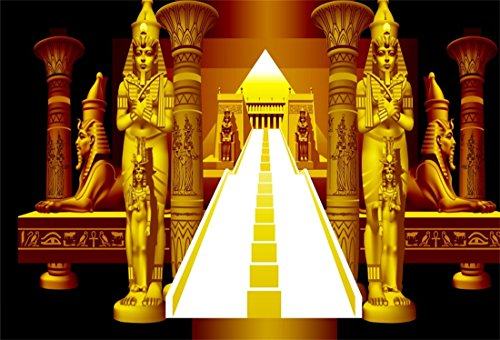 LFEEY 5x3ft Golden Egyptian Pharaoh Backdrop Computer Printed Vinyl Interior Stairway Sphinx Statues Pyramid Ancient Egypt Relic Photography Background Travel Photo Booth -
