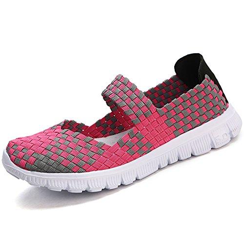 VILOCY Damen Schlüpfen Freizeit Schuhe Gewebte Elastisch Loafer Wohnungen Handarbeit Leicht Mode Sneaker Rose Rot