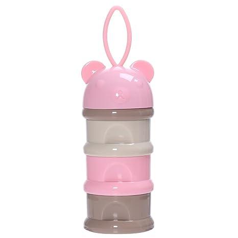 Milchpulver Portionierer BPA-frei Baby Essen Aufbewahrungsbox 3 Fächer Rosa