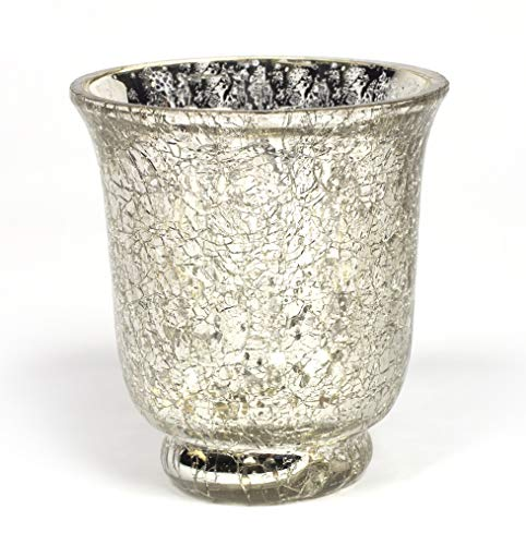 Home Decoration Accessories Mercury Glass Votive Candle Holder Silver Crackle Glass Effect Set of 4