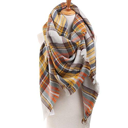 Womens Winter Soft Plaid Tartan Checked Scarf Large Blanket Wrap Shawl  Orange 140 by 140cm