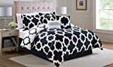 6 Piece Queen Capetown Black Reversible Comforter Set