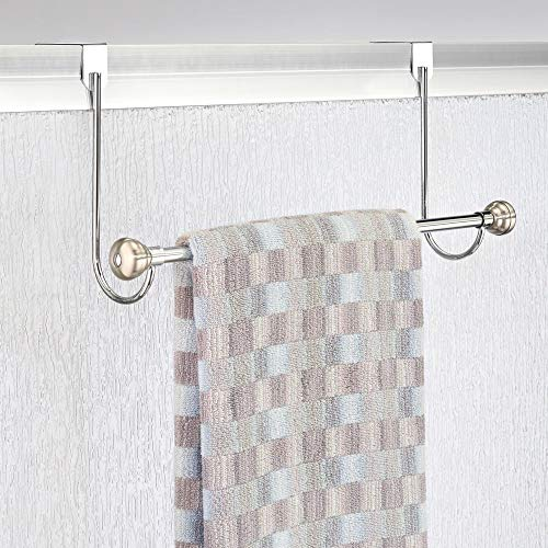 mDesign Metal Bathroom Over Shower Door Towel Rack Holder - Storage Organizer Bar for Hanging Washcloths, Bath, Hand, Face & Fingertip Towels - Brushed with Chrome Finials by mDesign (Image #2)