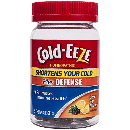 Cold-Eeze Cold Remedy Plus Defense Chewable Gels, Citrus with Elderberry Natural Flavor, 25 Count