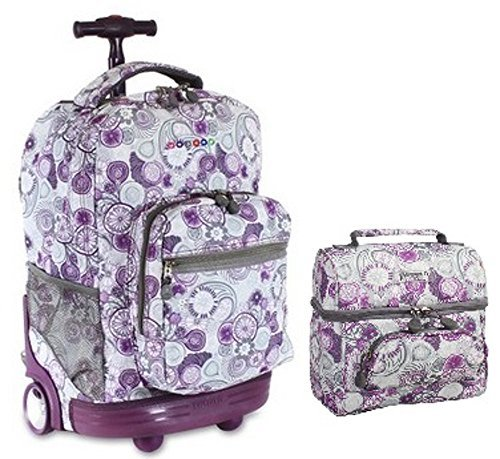 J World Combo Rolling Backpack & Lunch Bag Back to School Bundle Set Sunrise / Corey, ()