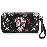 Sugar Skull Western Cross Clutch Wallet Day of the Dead Wristlet Purse Calavera (Black)