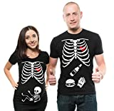 Skeleton Maternity Halloween Couple Matching Shirts Pregnancy Tees X-Ray Skeleton T-Shirt…