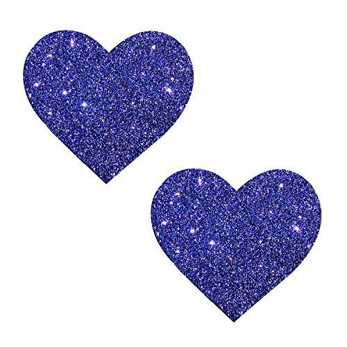 Neva Nude Purple Rain Glitter I Heart U Nipztix Pasties Nipple Covers