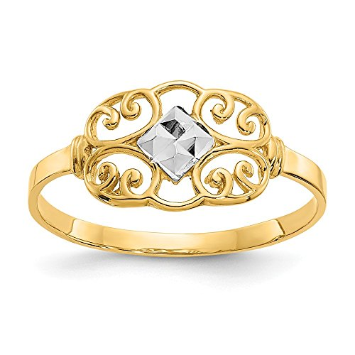 (Mia Diamonds 14k Solid Yellow Gold Filigree Ring )