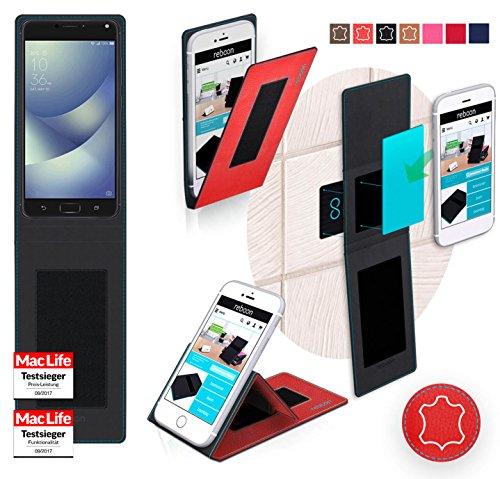Funda para Asus ZenFone 4 Max 5.5 en Rosa - Innovadora Funda 4 en 1-Anti-Gravedad para Montaje en Pared, Soporte de Tableta en Vehículos, Soporte de Tableta - Protector Anti-Golpes para Coches y Pared Cuero Rojo