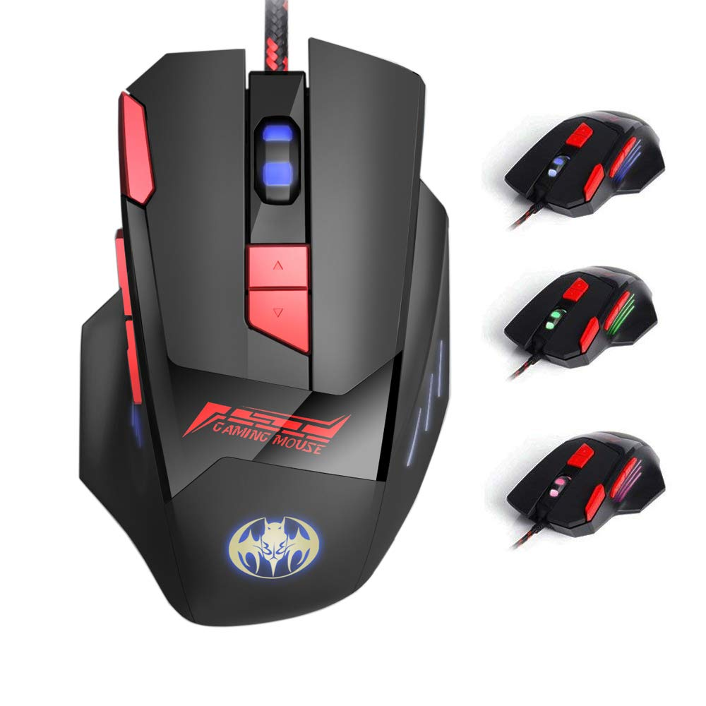 Mouse Gamer : TESHIUCK Con cable con 8 Botones6800DPIBreathi