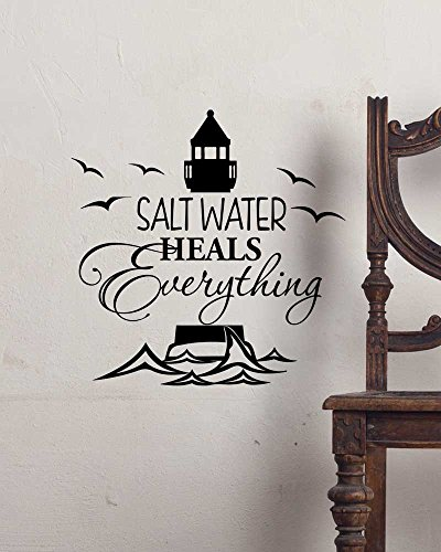 Wall Decal Salt water heals everything. cute ocean Vinyl Wall Decor Quotes Sayings Inspirational wall - Beach The Heal