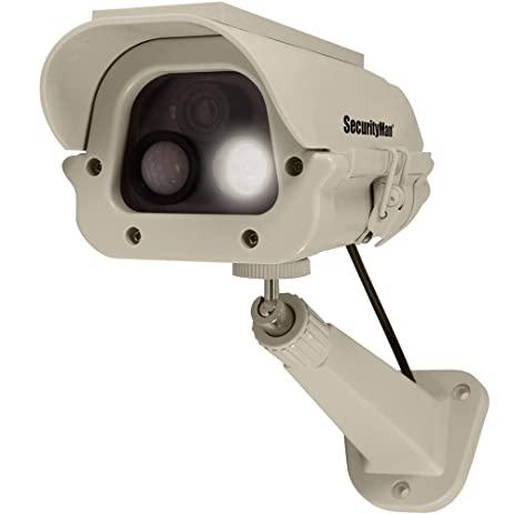 SecurityMan® Solar Powered IR Weatherproof Fake Dummy Surveillance Camera w/ LED