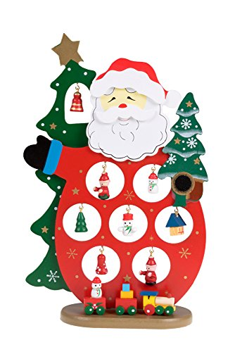 Clever Creations Wooden Santa Table Top Christmas Decoration 11 Mini Wooden Ornaments and Miniature Train | Collectible Traditional Holiday Décor | 100% Real Wood | Stands 10