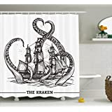 Ambesonne Nautical Decor Collection, Giant Octopus Catches Old Style Sail Ship Monster Adventure Story Themed Image, Polyester Fabric Bathroom Shower Curtain Set with Hooks, Black And White