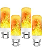 B22 2W 3W 5W Flame Lamp Bulbs LED Dynamic Flame Effect Fire Light Bulb Indoor Outdoor Decor Flickering Emulation LED Blub(4pcs)