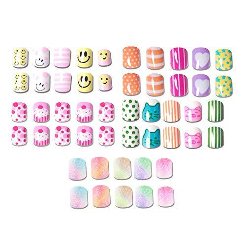 112pcs 5 Pack Children Nails Press on Pre-glue Full Cover Glitter Gradient Color Rainbow Short False Nail Kits Great Christmas Gift for Kids Little Girls