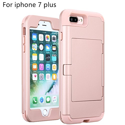 Price comparison product image iphone 7 Plus case,TOPBIN [Cosmetic Mirror] & [2 Card Slots] Hard PC+ Soft Silicone [3 in 1] Anti-Scratch Hybrid Full-Body Dual Protective Case for Apple iphone 7 Plus case (Rose Golden)